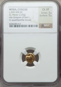 Ancients:Greek, Ancients: MYSIA. Cyzicus. Ca. 550-500 BC. EL sixth stater or hecte(2.65 gm). NGC Choice VF 3/5 - 5/5....