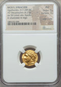 Ancients:Greek, Ancients: SICILY. Syracuse. Ca. 317-289 BC. AV hemistater (4.27 gm). NGC AU 5/5 - 3/5, edge bump....