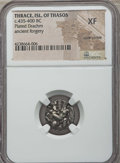 Ancients:Greek, Ancients: THRACIAN ISLANDS. Thasos. Ca. 435-411 BC. AR plateddrachm. NGC XF, core visible....