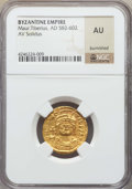 Ancients:Byzantine, Ancients: Maurice Tiberius (AD 582-602). AV solidus. NGC  AU,burnished....