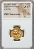 Ancients:Byzantine, Ancients: Heraclius (AD 610-641), with Heraclius Constantine. AVsolidus. NGC Choice VF....