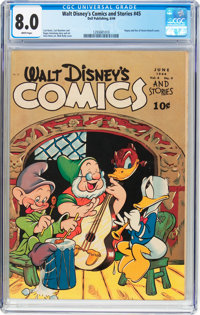 Walt Disney's Comics and Stories #45 (Dell, 1944) CGC VF 8.0 White pages