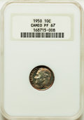 Proof Roosevelt Dimes, 1950 10C PR67 Cameo NGC. NGC Census: (90/27). PCGS Population:(77/20). ...