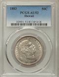 Coins of Hawaii , 1883 50C Hawaii Half Dollar AU53 PCGS. PCGS Population: (58/383).NGC Census: (28/310). Mintage 87,755. ...