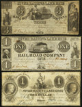Obsoletes By State:Michigan, MI- Lot of 3 River Raisin & Lake Erie Rail Road Company, Monroe Hard Times Era Notes.. ... (Total: 3 notes)