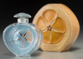 Art Glass:Lalique, R. Lalique Clear and Frosted Glass Narkiss Perfume Bottlewith Blue Patina and Case for Roger & Gallet. Circa 19...(Total: 2 Items)
