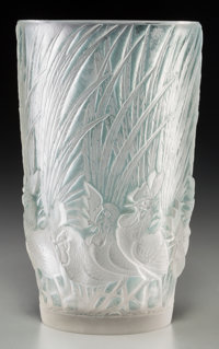 R. Lalique Frosted Glass Coqs et Plumes Vase with Blue Patina Circa 1928. Wheel-