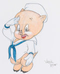 Animation Art:Production Drawing, Virgil Ross - Porky Pig Drawing (Warner Brothers, c. 1990s)....