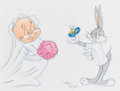 Animation Art:Production Drawing, Virgil Ross - Elmer Fudd and Bugs Bunny Drawing (Warner Brothers,c. 1990s)....