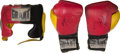 Boxing Collectibles:Autographs, 1997 Riddick Bowe Training Worn, Signed Headgear and Gloves....
