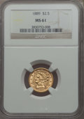 Liberty Quarter Eagles: , 1889 $2 1/2 MS61 NGC. NGC Census: (108/223). PCGS Population: (40/219). Mintage 17,648. ...