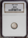 Seated Half Dimes: , 1862 H10C MS65 NGC. Sea-green and rose-red colors embrace theborders of this shimmering and nearly unabraded Gem. Well str...