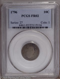 Early Dimes: , 1796 10C Fair 2 PCGS. JR-6, R.3. A die crack connects the numerals179 in the date, confirming the variety on this heavily ...