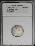 Early Dimes: , 1798/97 10C 16 Stars on Reverse--Cleaned--ANACS. VF30 Details.JR-1, R.3. The entire coin has been cleaned and retoned to a...