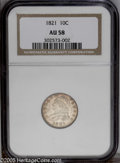 Bust Dimes: , 1821 10C Large Date AU58 NGC. JR-1, R.2. Gray-gold in the centerswith darker tinted gold coloration around the peripheries...