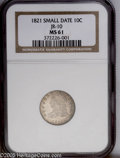 Bust Dimes: , 1821 10C Small Date MS61 NGC. JR-10, R.3. A scarcer die pairing.The second 1 in the date is not under the hair curl and th...