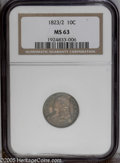 Bust Dimes: , 1823/2 10C Small Es MS63 NGC. JR-3, R.2. Dark gray dominates theobverse fields with lighter areas seen near and on Liberty...