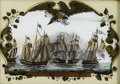 Antiques:Folk Art, War of 1812 Era Reverse Painting of Oliver Hazard Perry's GreatVictory on Lake Erie....