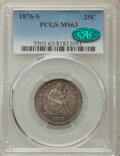 Seated Quarters: , 1876-S 25C MS63 PCGS. CAC. PCGS Population: (76/110). NGC Census: (41/94). CDN: $460 Whsle. Bid for problem-free NGC/PCGS M...