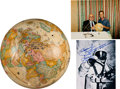 Autographs:Celebrities, Alexei Leonov Twice-Signed World Globe with Two Signed Photos, OneBeing Proof of Authenticity.... (Total: 3 Items)