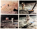 Autographs:Celebrities, Buzz Aldrin Signed Large Lunar Surface Color Photos (Four)Originally from His Personal Collection. ... (Total: 4 Items)