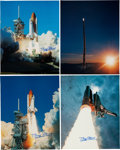 Autographs:Celebrities, Buzz Aldrin Signed Large Shuttle Color Photos (Six) Originally fromHis Personal Collection. ... (Total: 6 Items)