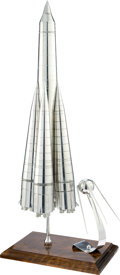 Explorers:Space Exploration, Soviet Vintage Sputnik-1 and 8K71PS Launch Vehicle Model Made byEnergia, Signed on the Base by Salizhan Sharipov. ...