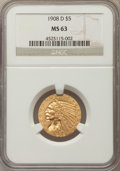 Indian Half Eagles: , 1908-D $5 MS63 NGC. NGC Census: (951/492). PCGS Population:(1389/406). CDN: $745 Whsle. Bid for problem-free NGC/PCGS MS63...