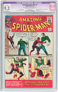 The Amazing Spider-Man #4 (Marvel, 1963) CGC Apparent NM- 9.2 Slight (P) Off-white to white pages