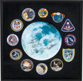 Explorers:Space Exploration, Apollo Moonwalkers: Moon Photo Signed by Five Surrounded by a Setof Twelve Apollo Embroidered Mission Patches in a Framed Dis...