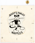 "Original Comic Art:Illustrations, Aesop's Fables #22 ""Waffles"" Pinback Button IllustrationOriginal Art and Pin (Western Theater Premium Co, c. 1930s)....(Total: 2 Items)"