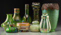 Art Glass:Other , Nine Austrian Green and Iridescent Glass Vessels. Early 20thcentury. Ht. 9-3/4 in. (tallest, vase). PROPERTY FROM THE COL...(Total: 9 Items)
