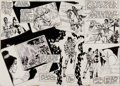 Original Comic Art:Panel Pages, Mike Grell Starslayer #2 Double Page Spread 8-9 Original Art (Pacific, 1982)....