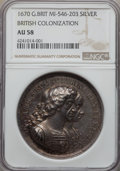 Betts Medals, 1670 British Colonization Medal AU58 NGC. Betts-44, MI-446-203.Silver, 42mm....