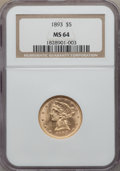 Liberty Half Eagles: , 1893 $5 MS64 NGC. NGC Census: (644/71). PCGS Population: (272/40). CDN: $680 Whsle. Bid for problem-free NGC/PCGS MS64. Min...