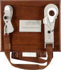 Explorers:Space Exploration, Apollo 12 Lunar Module Flown Waist Tether (EVA) with Snaphooks onPresentation Plaque from the Crew to Astronaut/ CapCom Dr. E...