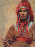 Paintings, Circle of Taos Society (20th Century). Portrait of a Native American Man, 1923. Oil on canvasboard. 24 x 17.75 in.. Date...