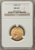 Indian Half Eagles: , 1908-D $5 MS63+ NGC. NGC Census: (949/492 and 10/12+). PCGSPopulation: (1385/404 and 18/19+). CDN: $950 Whsle. Bid for pro...