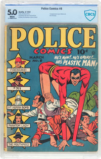 Police Comics #8 (Quality, 1942) CBCS VG/FN 5.0 White pages
