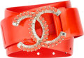"Luxury Accessories:Accessories, Chanel Coral Patent Leather & Crystal CC Belt. PristineCondition. 1.5"" Width x 33.5"" Length. ..."