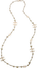 "Luxury Accessories:Accessories, Chanel White Glass Pearl Quilted CC Necklace. PristineCondition. 0.5"" Width x 44.5"" Length. ..."