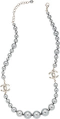 "Luxury Accessories:Accessories, Chanel Silver Glass Pearl & Crystal Necklace. PristineCondition. 0.5"" Width x 19"" Length. ..."