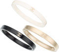 """Luxury Accessories:Accessories, Chanel Set of Three; Black & White Enamel and Stainless Steel Bracelets. Excellent Condition. 0.5"""" Width x 7.5"""" Length. 0.... (Total: 3 Items)"""