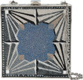 "Luxury Accessories:Bags, Judith Leiber Full Bead Silver & Blue Crystal Square MinaudiereEvening Bag. Excellent Condition. 5"" Width x 5"" Height x1..."