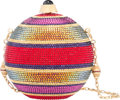 "Luxury Accessories:Bags, Judith Leiber Full Bead Multicolor Crystal Sphere MinaudiereEvening Bag. Excellent Condition. 4"" Width x 4"" Height x 4""D..."