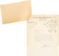 """Autographs:Inventors, Thomas Edison Autograph Note Signed with Initial """"E"""" ... (Total: 2 )"""