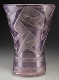 Art Glass:Daum, Daum Art Deco Amethyst Acid-Etched Glass Vase. Circa 1930.Wheel-Carved DAUM (Cross of Lorraine), NANCY, FRANCE.Ht....