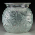 Art Glass:Lalique, R. Lalique Clear Glass Cigognes Vase with Sage Green Patina.Circa 1926. Molded and Etched R. LALIQUE, France...