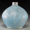 Art Glass:Lalique, R. Lalique Frosted Glass Plumes Vase with Blue Patina. Circa1920. Molded R. LALIQUE . M p. 427, No. 944. Ht...