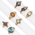 Estate Jewelry:Rings, Victorian Diamond, Multi-Stone, Gold Rings. ... (Total: 7 Items)